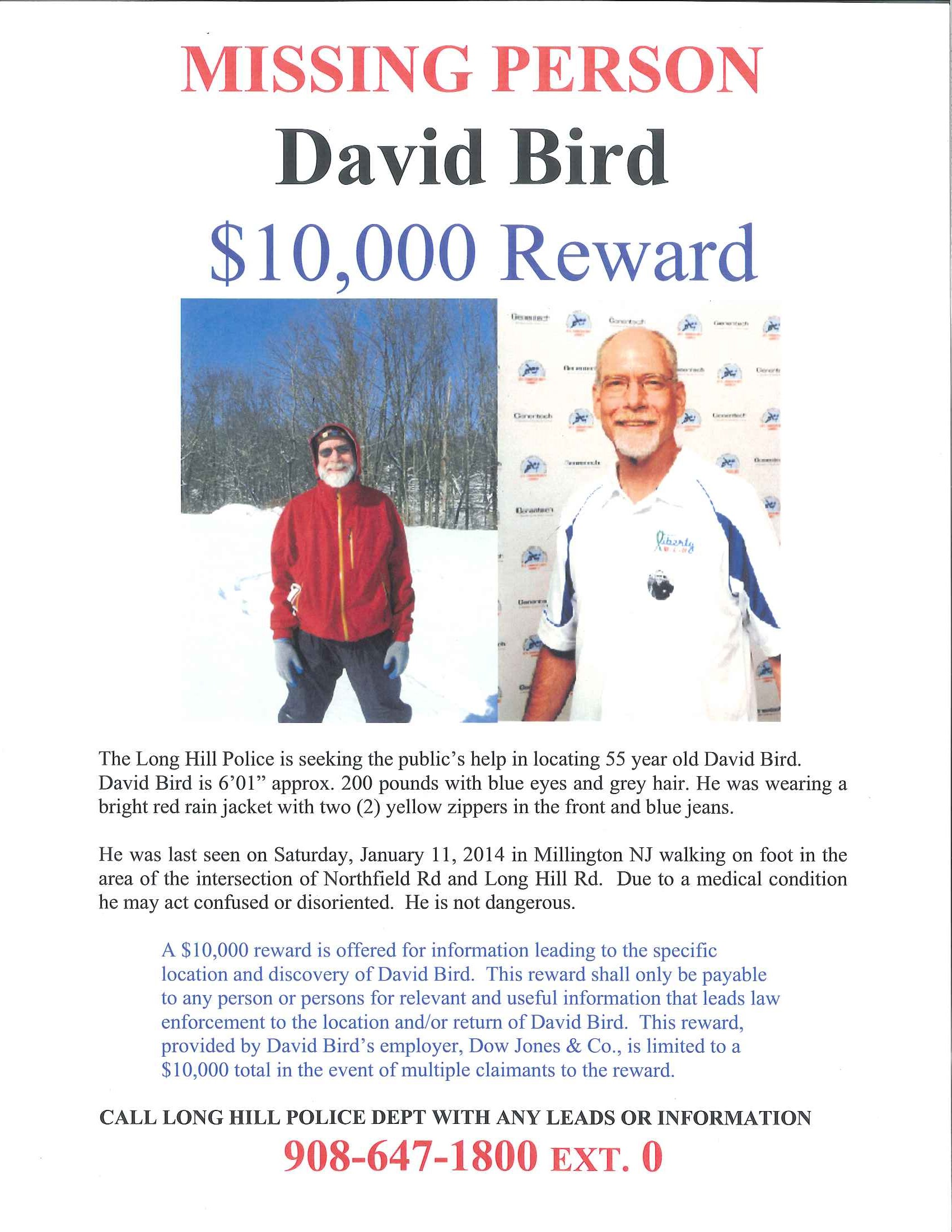 Find David Bird How to Help – Missing Person Flyer